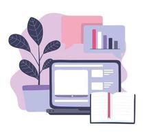 formation en ligne, ordinateur portable et informations sur le contenu des livres