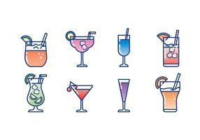 Verre de cocktail Icon Set vecteur