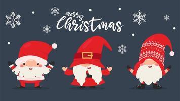 Gnomes nains en tenues de père Noël avec des flocons de neige