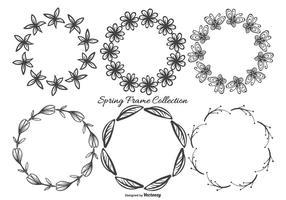 Collection Frames Mignon Sketchy Printemps vecteur