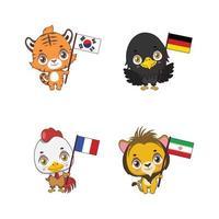 animaux nationaux mignons avec leurs drapeaux de pays