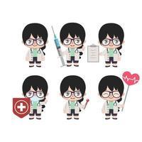mascotte de femme médecin asiatique dans diverses poses
