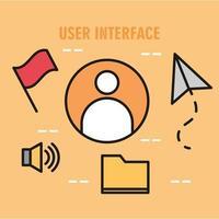 composition de l'interface utilisateur avec des icônes de ligne vecteur