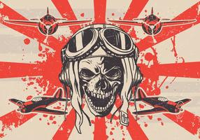 Grungy Kamikaze Skull Vector
