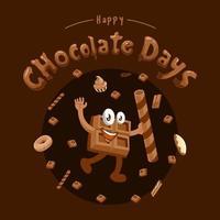 journée de chocolat avec choco man vecteur