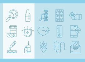 recherche sur les vaccins et collection d & # 39; icônes scientifiques