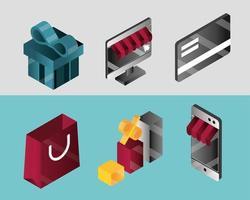 jeu d'icônes isométrique achats en ligne et e-commerce