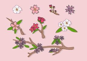 Peach Blossom Flowers Doodle Vector Illustration