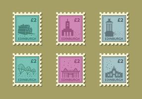 Vector Illustration Stamp bâtiment Edinburg Vintage