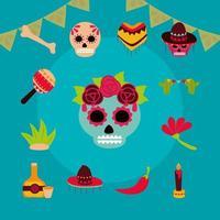 jeu d'icônes plat fête des morts