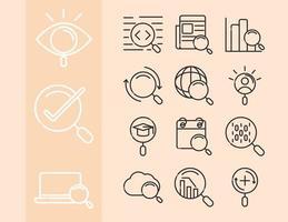 icône de recherche Web sertie de loupe