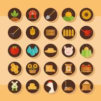 ensemble d'icônes plat agriculture et élevage