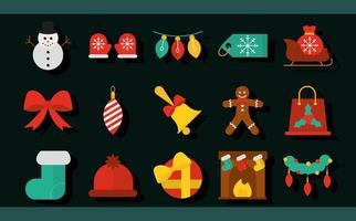 collection d'icônes plates de noël