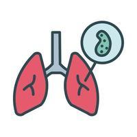 poumons avec style de remplissage de particules virales covid19