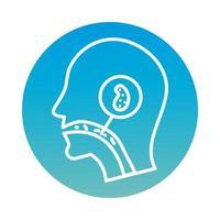 profil avec icône de bloc de cellule infectée covid19