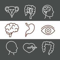 Jeu d'icônes de l'anatomie et de la santé du corps humain