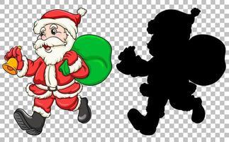 Père Noël transportant un sac cadeau vecteur