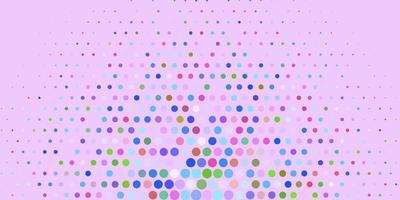 cercles multicolores sur fond violet.