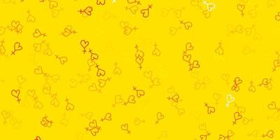 motif jaune avec des éléments de féminisme. vecteur