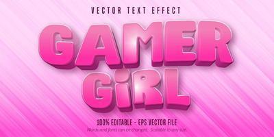 texte de gamer girl, effet de texte modifiable de style dessin animé vecteur