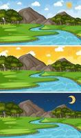 ensemble de scène de rivière paysage nature