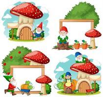 ensemble de personnages et cadres de dessin animé de nain de jardin