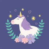 personnage de dessin animé de licorne magique avec des feuilles et des fleurs