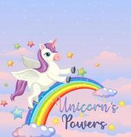 bannière vierge avec licorne et arc en ciel
