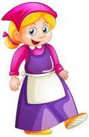 une jeune fille en uniforme de femme de chambre