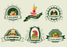 Canapes alimentaire bannière vecteur Étiquette Café