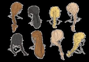 Tresses cheveux et Tresses Vecteurs