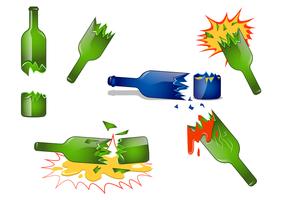 Vecteur bouteille réaliste brisé