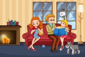 scène avec famille lisant à la maison en hiver