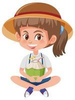 fille tenant une boisson à la noix de coco vecteur