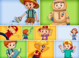 ensemble de différents personnages enfant sur fond de couleur différente