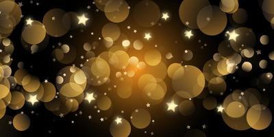 bannière de noël avec des lumières bokeh et des étoiles
