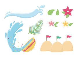 jeu d'icônes de célébration du festival songkran