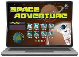 Jeu de mission aventure spatiale sur écran d'ordinateur portable