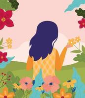 affiche de fête de printemps avec femme et fleurs