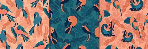 oiseaux dans des modèles sans couture de jungle vecteur