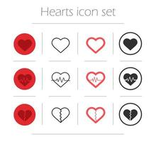 jeu d'icônes vectorielles coeurs vecteur