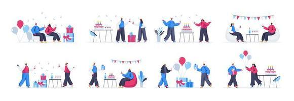lot de scènes de fête d'anniversaire vecteur