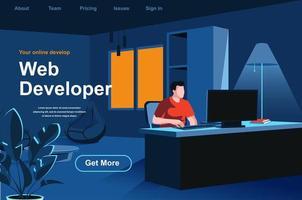 page de destination isométrique de développement Web