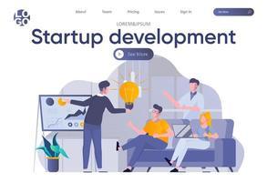page de destination de développement de démarrage avec en-tête vecteur