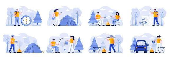 ensemble de scènes de camping avec des personnages vecteur