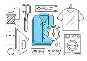 Style linéaire gratuit blanchisserie icônes vecteur