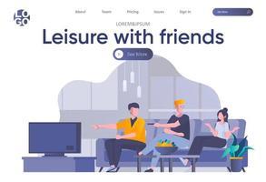 loisirs avec des amis page de destination avec en-tête vecteur