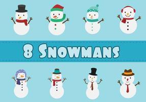 jeu de caractères de bonhomme de neige vecteur