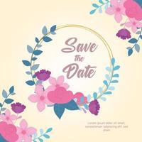 modèle de carte de mariage floral élégant vecteur