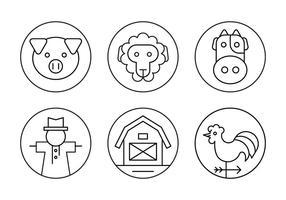 Icônes minimales de la ferme dans les grandes lignes de style